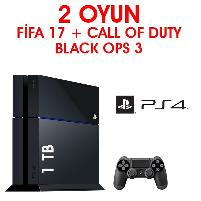 Senetle Sony Playstation 4 PS4 1 TB 2 Oyun Fifa 17 + Call Of Duty Black Ops 3