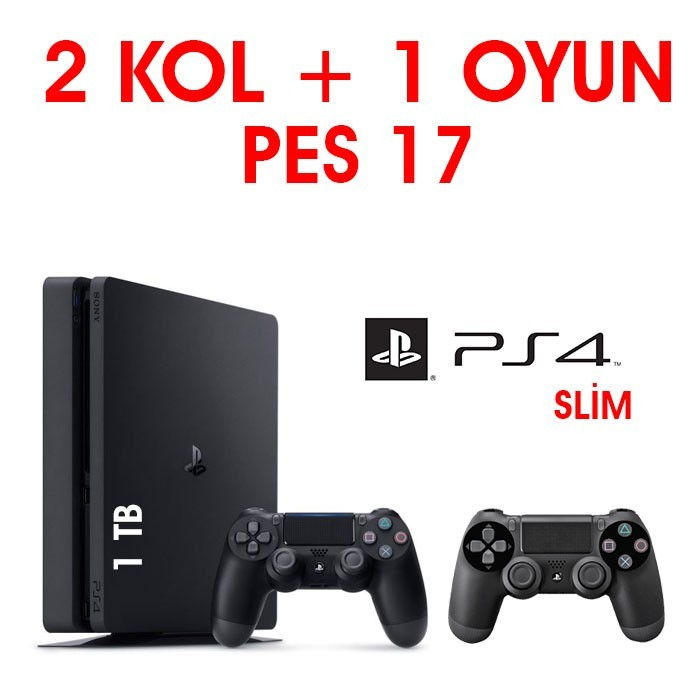 Senetle Sony Playstation 4 PS4 SLiM 1 TB 2 KOL + 1 OYUN PES 17
