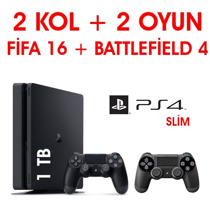 Senetle Sony Playstation 4 PS4 SLiM 1 TB 2 KOL + 2 OYUN FİFA 18 + BATTLEFiELD 4
