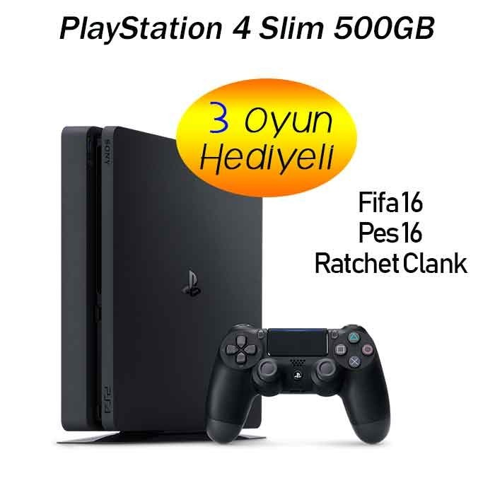 Kredi Kartsız Sony Playstation 4 Slim 500GB 1 KOL + 3 OYUN