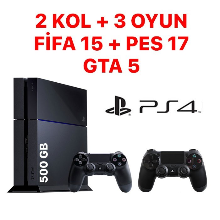 Senetle Sony Playstation 4 PS4  500GB 2 KOL + 3 OYUN