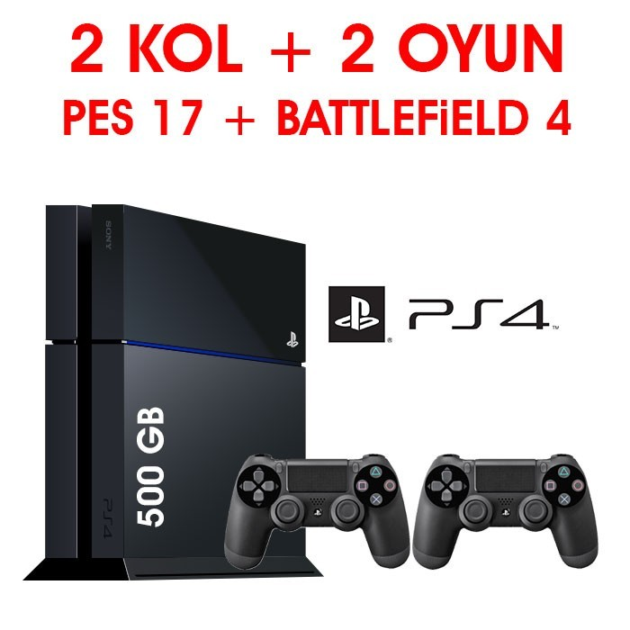 Senetli Taksitle Sony Playstation 4 PS4  500GB 2 KOL + 2 OYUN PES 17 + BATTLEFiELD 4