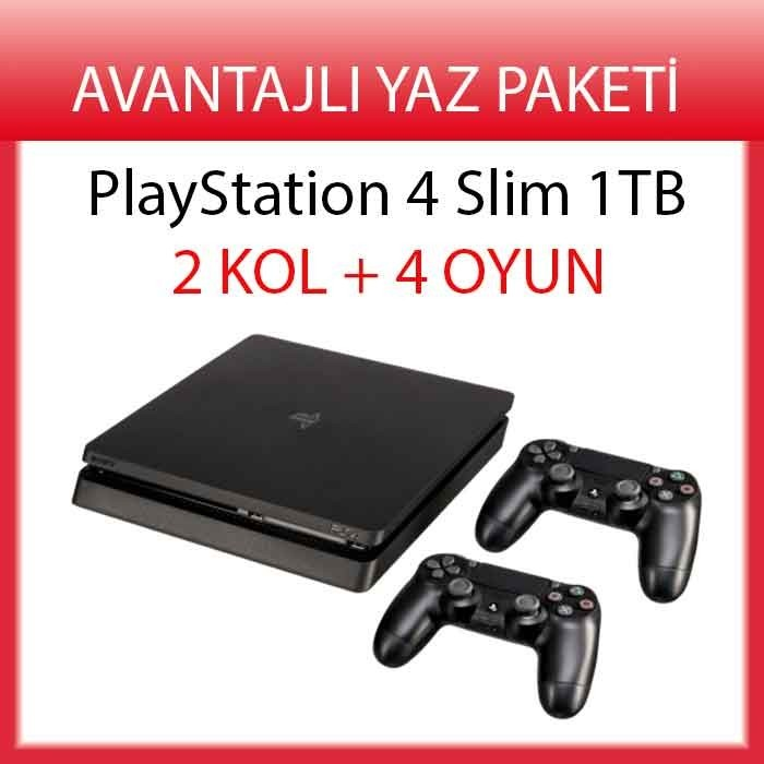 Taksitle Sony Playstation 4 PS4 SLiM 1 TB 2 KOL + 4 OYUN