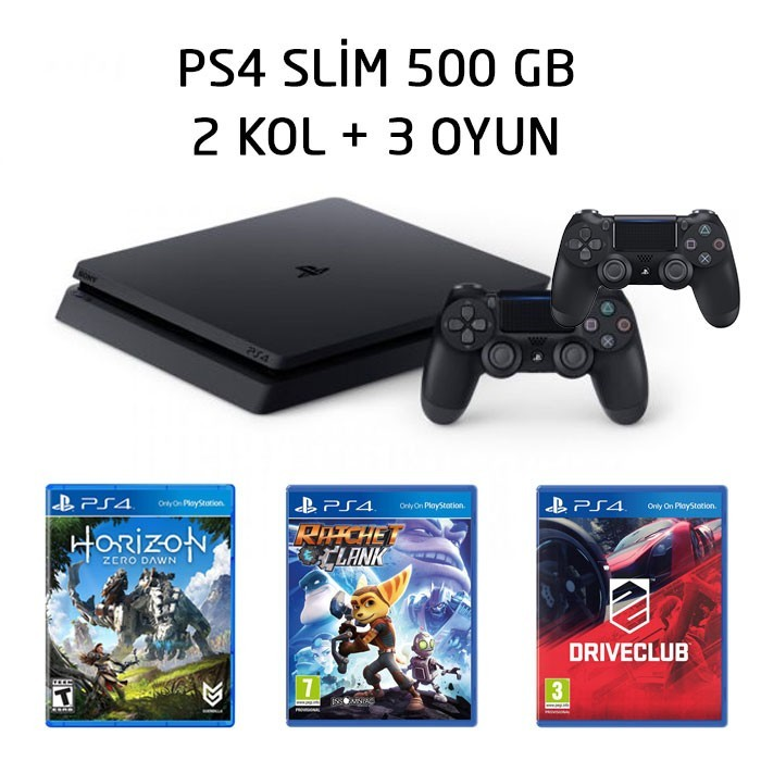 Senetle Sony Playstation 4 PS4 SLiM 500 GB 2 KOL + 3 OYUN