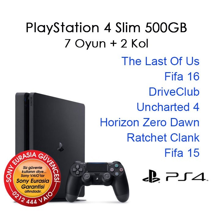 PlayStation 4 500GB Slim 7 Oyun + 2 Kol