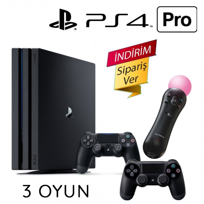 Sony Playstation 4 Pro 1 TB 2 Kol 2 Move 3 Oyun