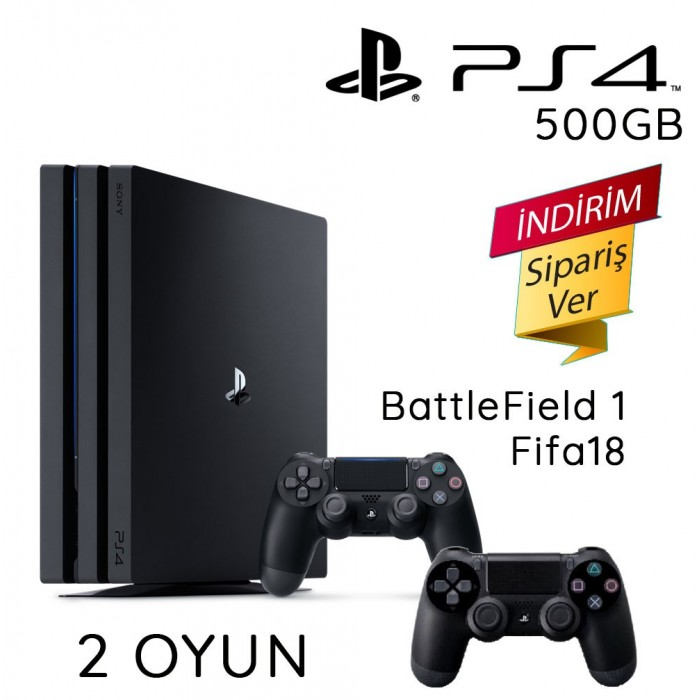 Sony Playstation 4 500 GB 2 Kol 2 Oyun ( Battlefield 1+Fifa 18)