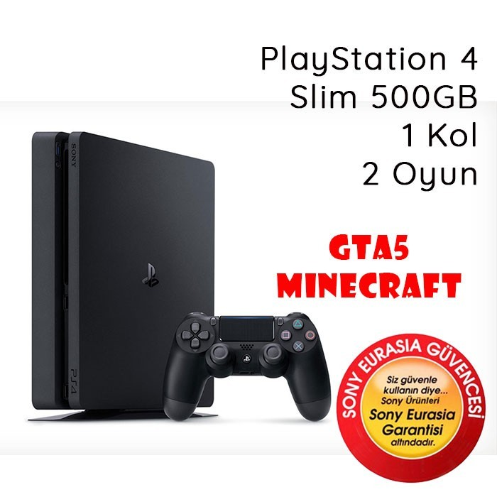 Sony PlayStation 4 Slim 500GB Gta5 MineCraft 1 Kol